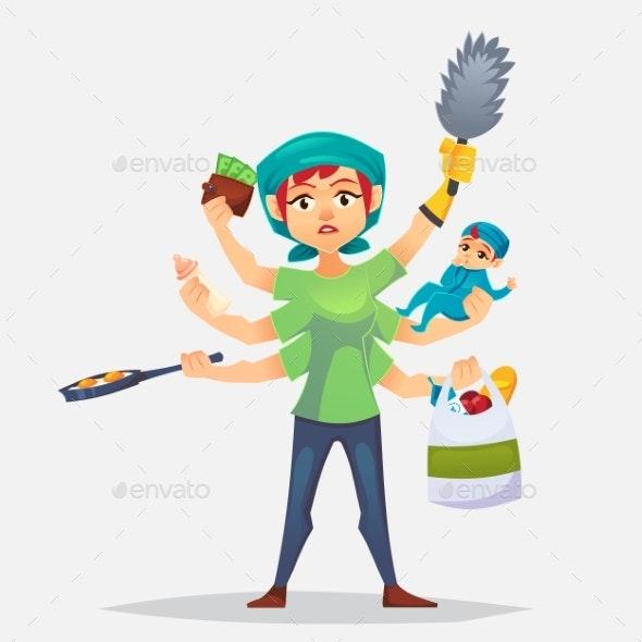 Multitasking Woman - People Characters