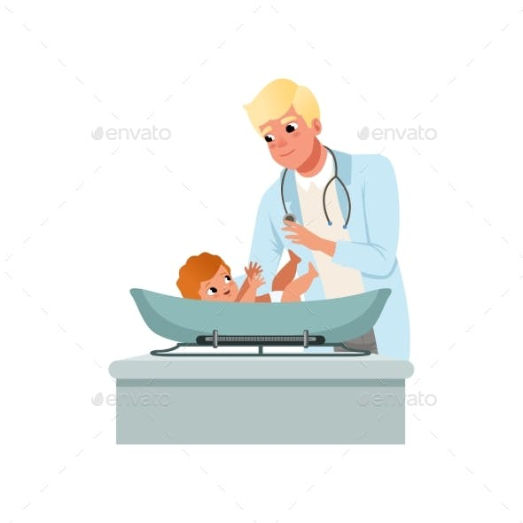 Male Pediatrician in White Coat Weighting Baby