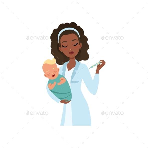 Female Pediatrician in White Coat Examining
