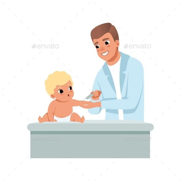 Male Pediatrician in White Coat Giving a Shot - Health/Medicine Conceptual