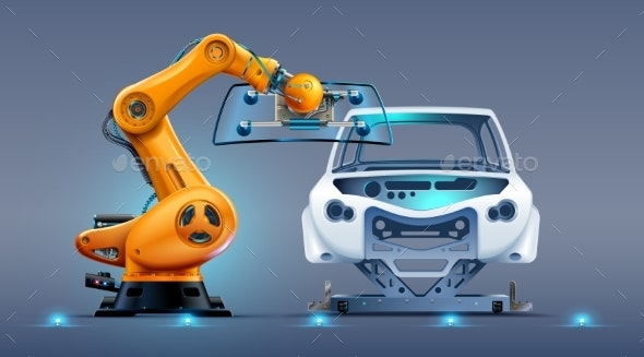 Robot Arm Work on Car Factory or Manufacturing - Industries Business