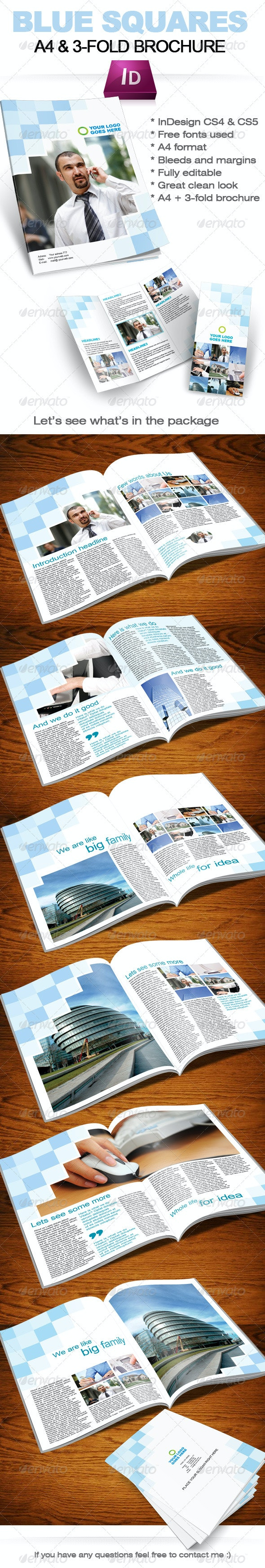 Blue Square Business Brochure (A4 + 3-fold format) - Corporate Brochures