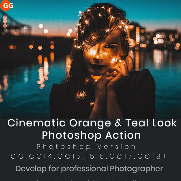 10 Cinematic Orange & Teal Look Photoshop Action V2