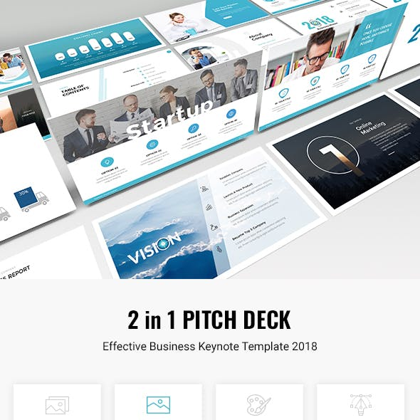 Bundle 2 in 1 Startup Pitch Deck Keynote Template 2018