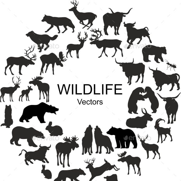 Collection of Silhouettes of Different Animal Species