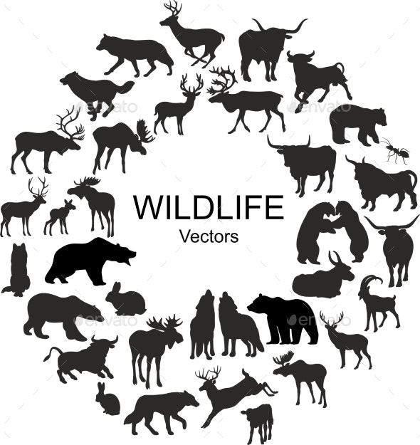 Collection of Silhouettes of Different Animal Species - Animals Characters