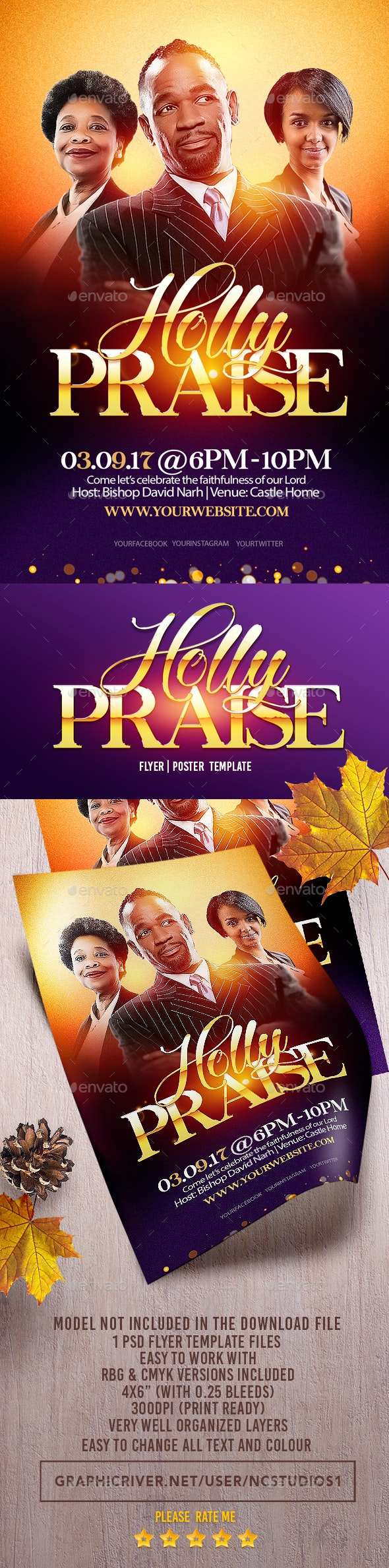 Holly Praise Flyer Template - Flyers Print Templates