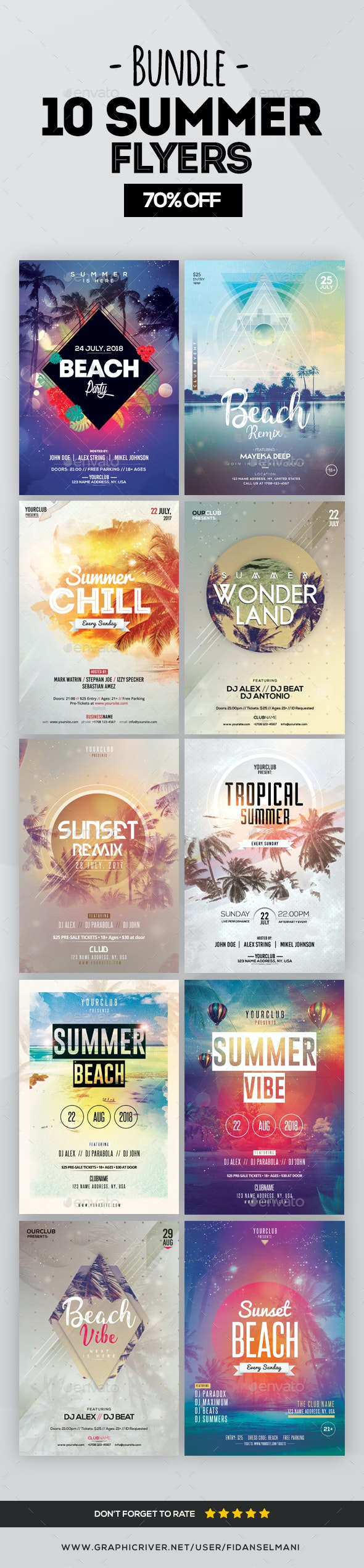10 Summer Flyers - Bundle 70% OFF - Flyers Print Templates