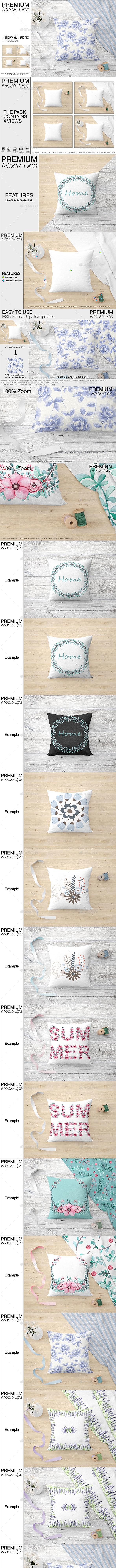 Pillow & Fabric Set - Print Product Mock-Ups