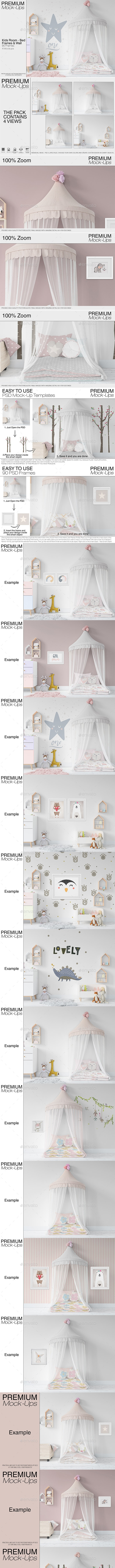 Kids Bed with Drapery Wall & Frames - Print Product Mock-Ups