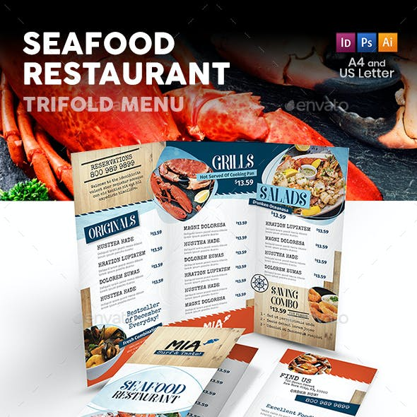Seafood Restaurant Trifold Menu 3