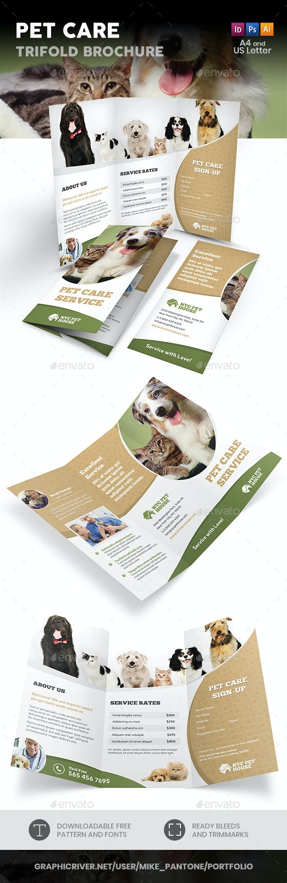 Pet and Animal Care Trifold Brochure - Informational Brochures