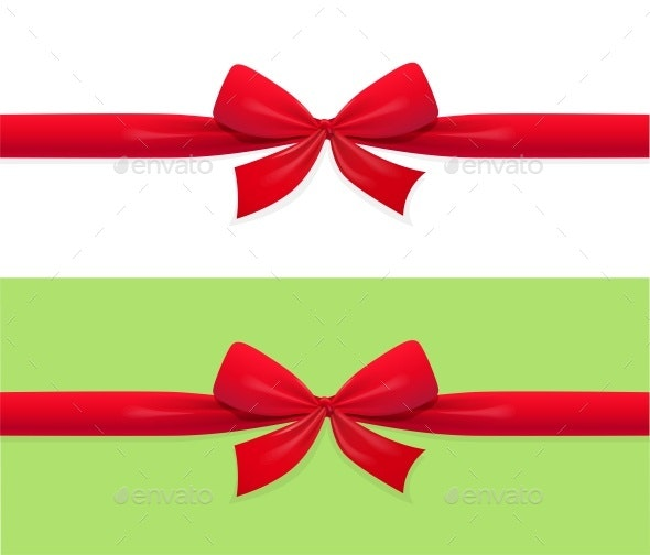 Red Bow and Ribbon Decoration for Gift - Miscellaneous Vectors