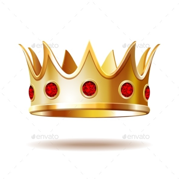 Golden Royal Crown Isolated on White - Miscellaneous Vectors