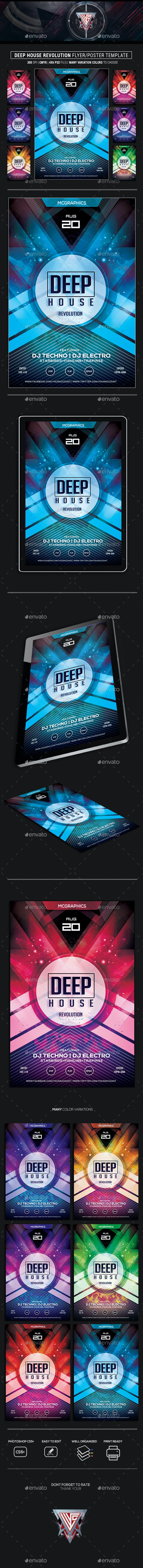 Deep House Revolution Flyer/Poster Template - Flyers Print Templates