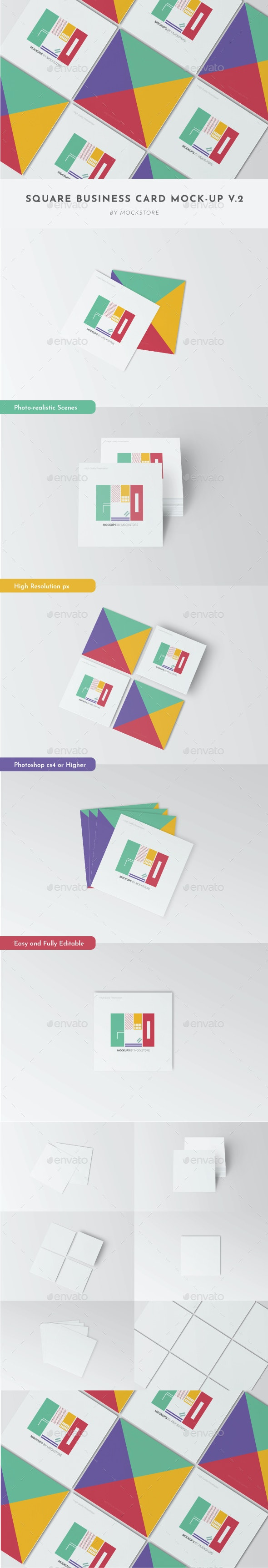 Square Business Card Mockup Pack - Business Cards Print