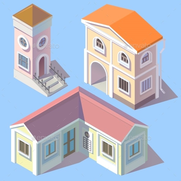 Vector Isometric Residential Buildings in Cartoon - Buildings Objects
