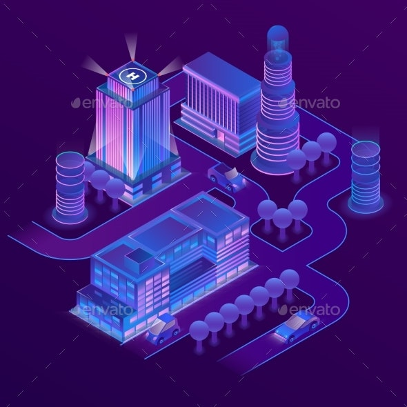 Vector 3d Isometric Megapolis in Ultraviolet - Buildings Objects