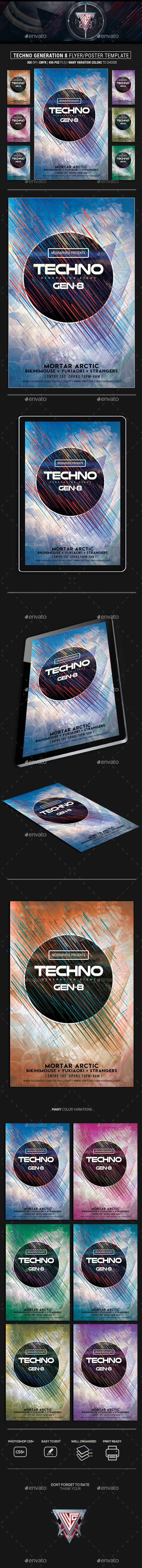 Techno Generation 8 Flyer/Poster Template - Flyers Print Templates