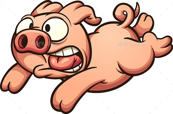 Scared Running Pig - Animals Characters