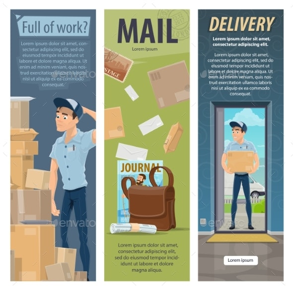 Post Mail Delivery Vector Postman Work Banners - Services Commercial / Shopping