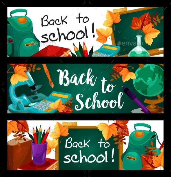 Back To School Vector Green Chalkboard Banners - Seasons/Holidays Conceptual
