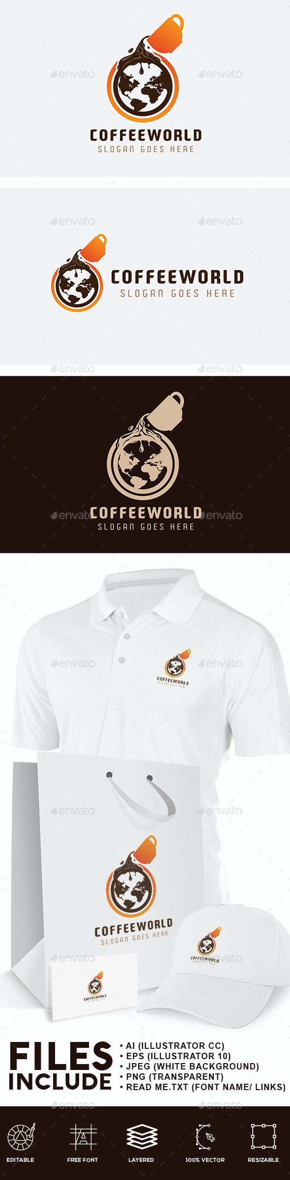 Coffee World Logo - Food Logo Templates