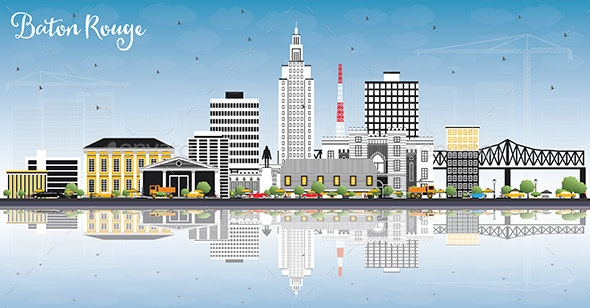 Baton Rouge Louisiana City Skyline with Color Buildings, Blue Sky and Reflections. - Buildings Objects