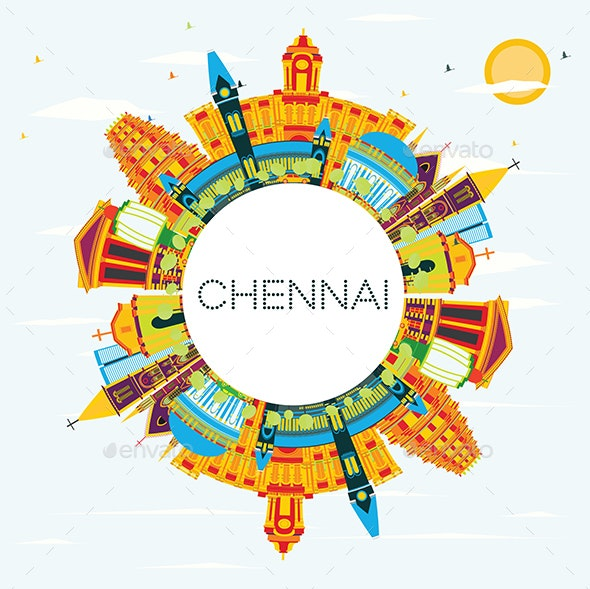 Chennai India Skyline with Color Landmarks, Blue Sky and Copy Space. - Buildings Objects
