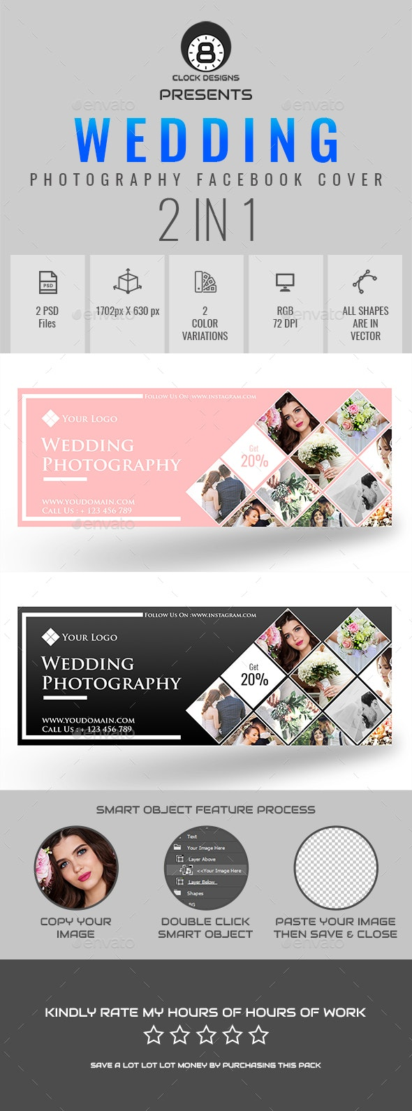 Wedding Photography Facebook Timeline Cover ( 2 in 1 ) - Facebook Timeline Covers Social Media