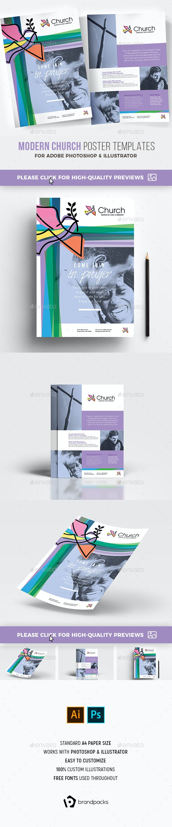 Modern Church Poster Template - Church Flyers