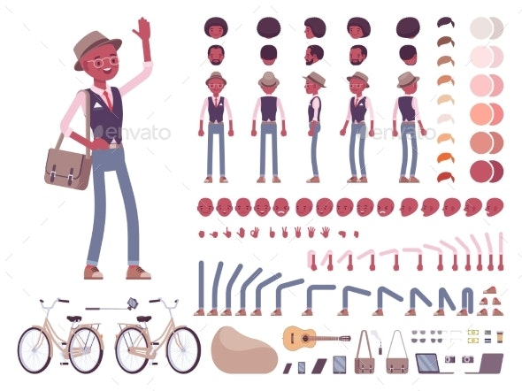 Black Smart Casual Man with Bag - People Characters