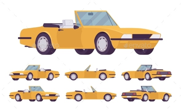 Yellow Cabriolet Car Set - Man-made Objects Objects