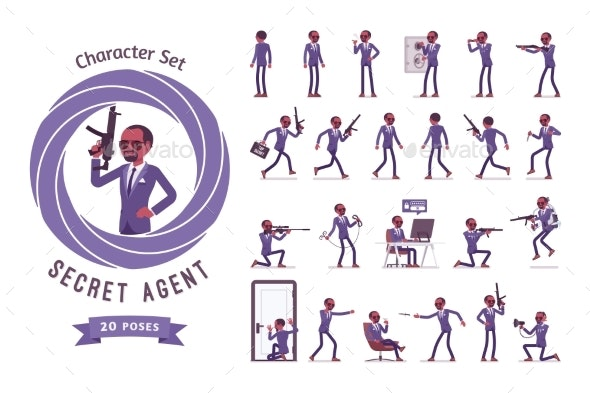 Secret Agent Black Man, Gentleman Spy Ready-to-use - People Characters