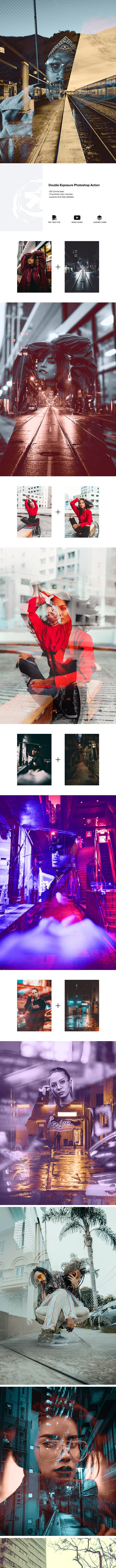 Double Exposure Photoshop Action - Photo Effects Actions