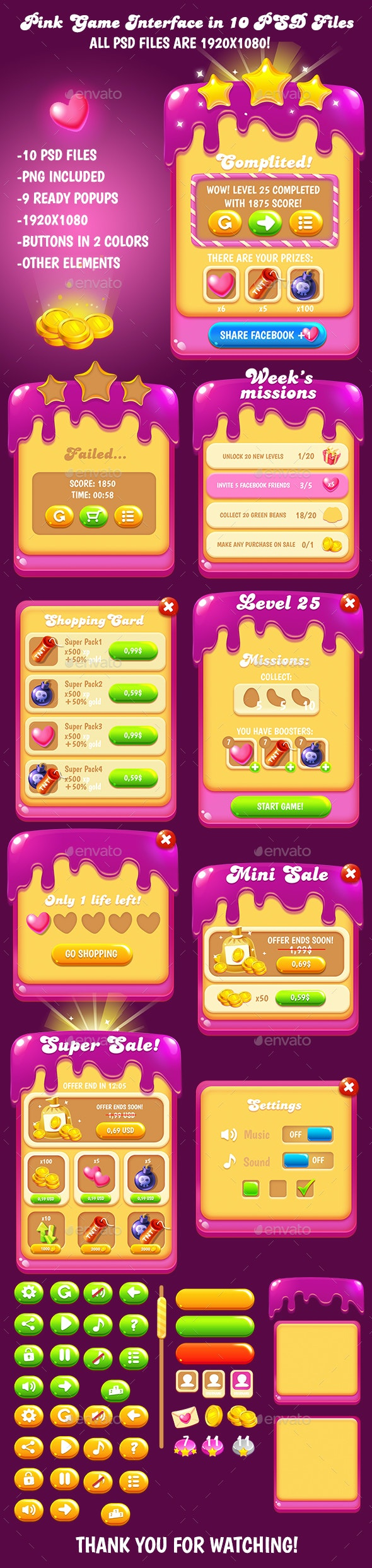Sweet Game Interface Pack - User Interfaces Game Assets