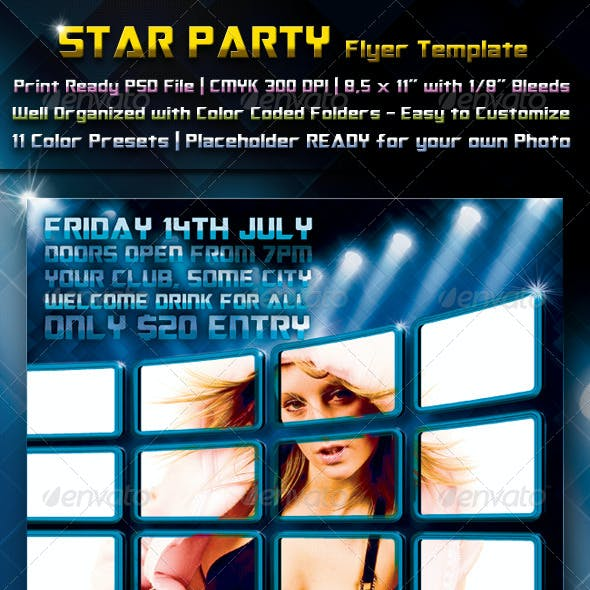 Star Party Flyer Template