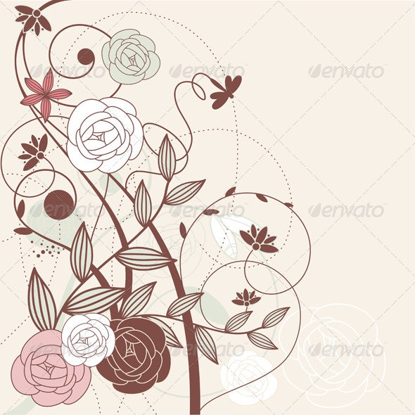 Vector Floral Card - Backgrounds Decorative