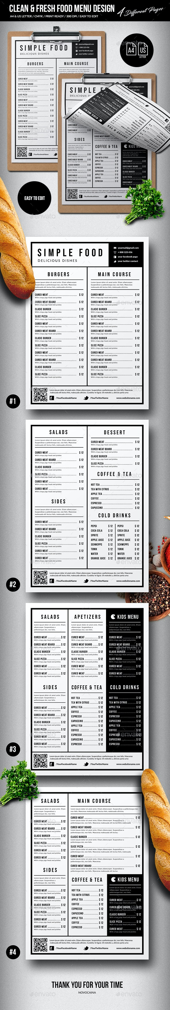 Clean & Fresh Single Page Menu - 4 Pages - A4 & US Letter - Food Menus Print Templates
