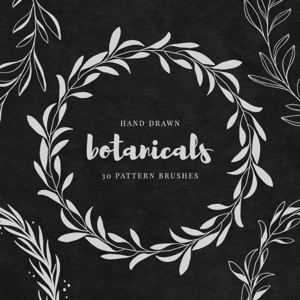 30 Hand Drawn Botanical Pattern Brushes Volume 01