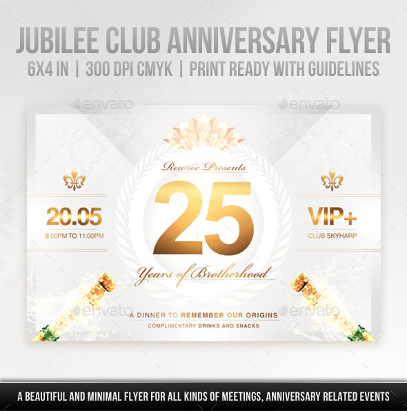 Jubilee Club Anniversary Flyer - Clubs & Parties Events