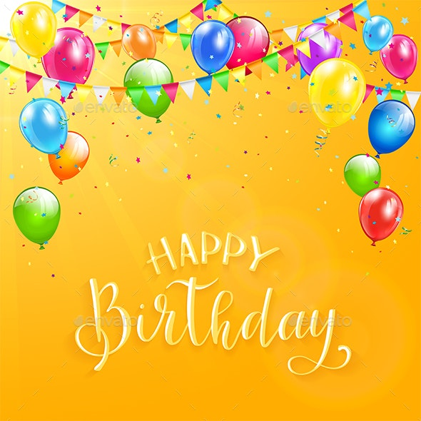 Happy Birthday with Colorful Balloons and Pennants - Birthdays Seasons/Holidays
