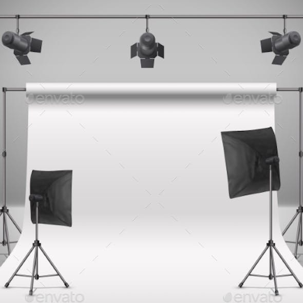 Vector Empty Photo Studio with Equipment