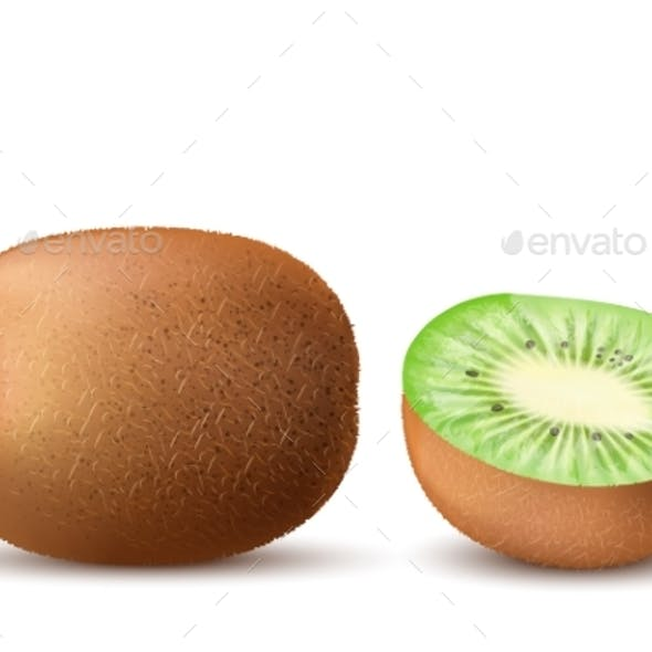 Vector Realistic Ripe Kiwi, Sweet Tropical Fruits