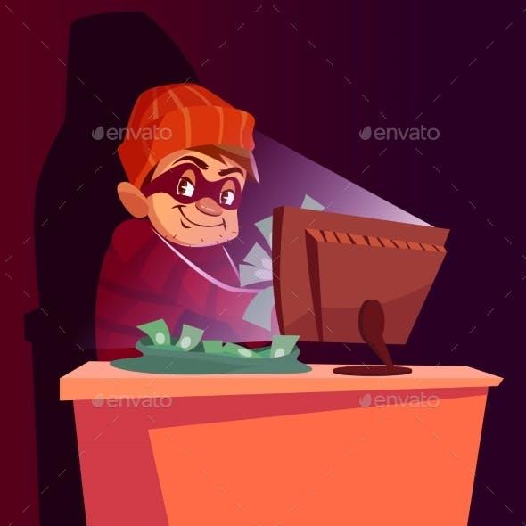 Computer Scammer Vector Cartoon Illustration