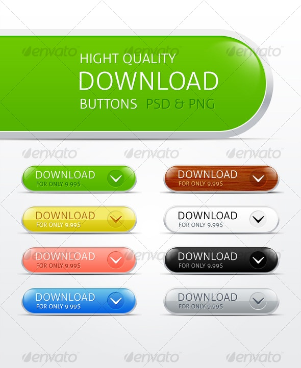 Hight Quality Download Buttons - Buttons Web Elements