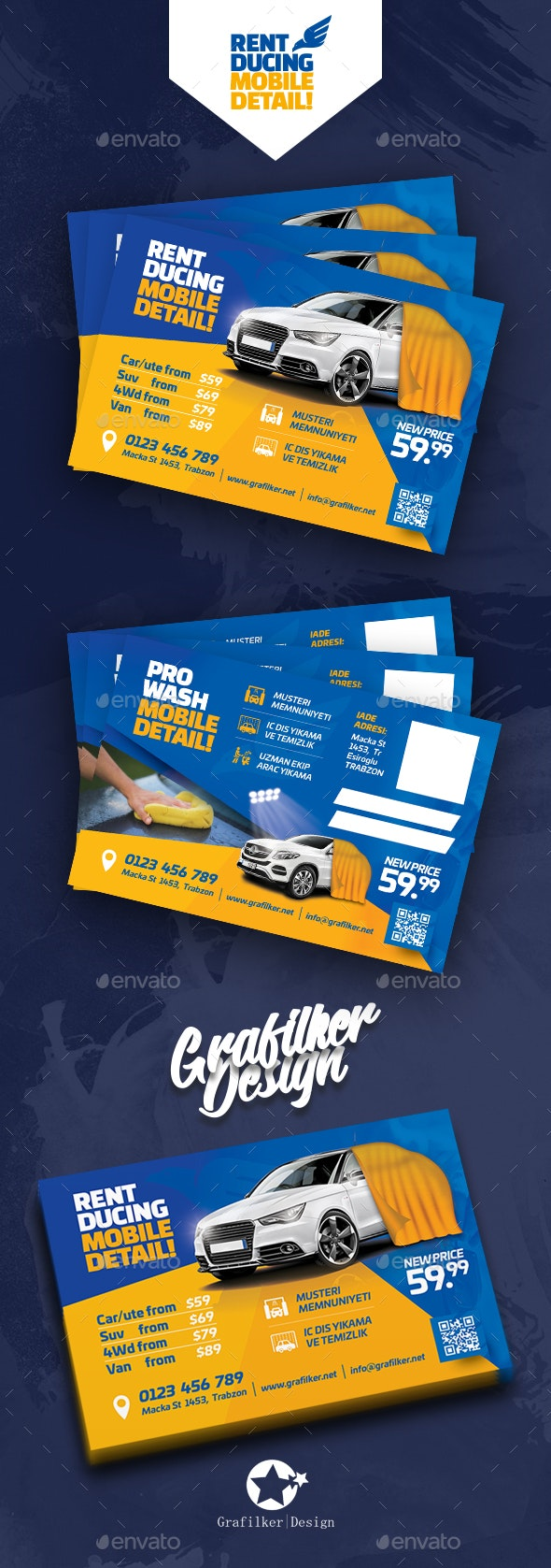 Car Wash Postcard Templates - Cards & Invites Print Templates