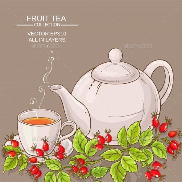 Mug of Wild Rose Hips Tea and Teapot
