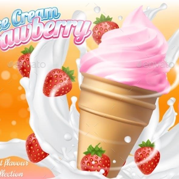 Ice Cream Strawberry Cone Dessert Vector