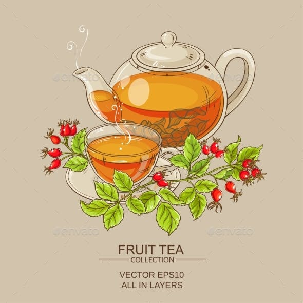 Cup of Wild Rose Hips Tea and Teapot